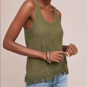 Anthropologie Green Fringe Tank by Akemi and Kin